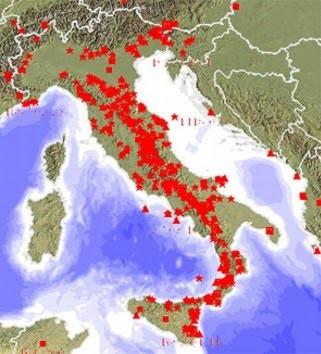 Mappa italiana con siti nucleari zone a rischio sismico for Rischio sismico in italia